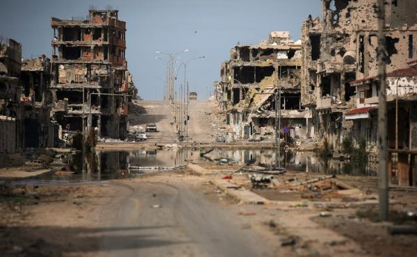 A photo from 2011 shows buildings ravaged by fighting in Sirte, Libya. Islamic State militants have controlled the city since August 2015. The U.S. military has announced ongoing airstrikes against targets in Sirte.
