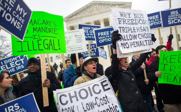 People protesting against the Affordable Care Act rallied outside the Supreme Court in March, before arguments in the second major challenge to the law.