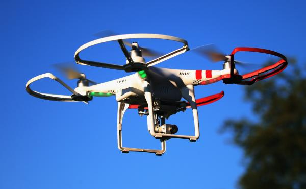 A drone flies above Old Bethpage, N.Y.