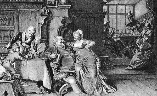 The libertine Falstaff sits with a woman on his lap and a tankard in his hand in an illustrated scene from one of William Shakespeare's Henry IV plays.