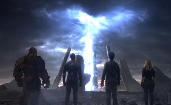 From left: Ben Grimm (Jamie Bell), Johnny Storm (Michael B. Jordan), Reed Richards (Miles Teller), Sue Storm (Kate Mara) in the new Fantastic Four.