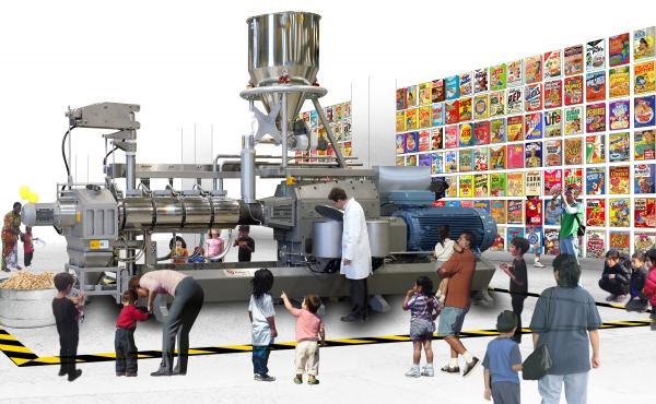 The Food and Drink Museum will open in its first permanent home – a mini-museum in Brooklyn — in October. The plan is to move into a bigger, final home by 2019. Above, an artist's rendering shows one potential exhibit – on ready-to-eat cereal — in