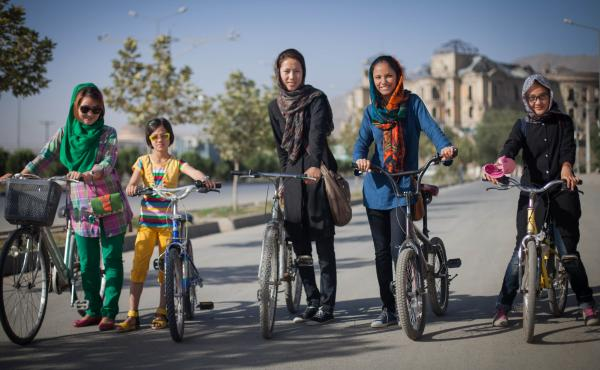 Fatima Haidari, second from the right, and her bike riding club caught the attention of Humans of Kabul — the Afghanistan version of the popular Humans of New York blog.