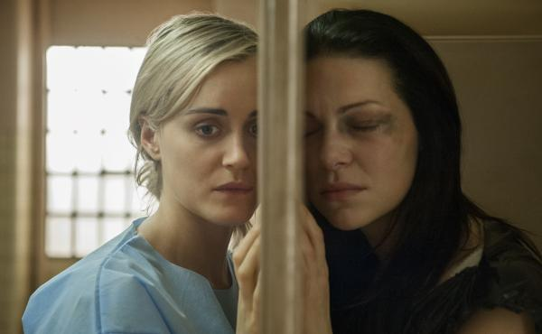 Taylor Schilling, left, with costar Laura Prepon on Netflix's Orange is the New Black.