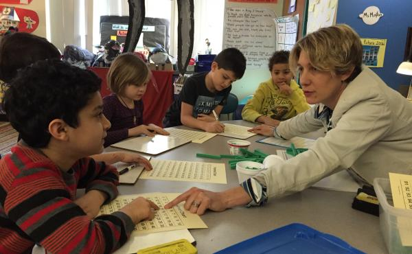 Amy Moylan's first-graders learn about place values. At the Baldwin School in Cambridge, Mass. — and at most schools around the country — the math curriculum is very similar to the approach used in Italy in the 1500s to teach the children of merchants
