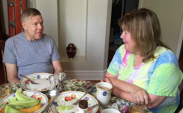 Betty and Jeff Waite enjoy family brunch with their sons. The Waites say they were happily married for 17 years before Jeff told Betty he was questioning his sexuality. The news came as a shock to her, as it does to many men and women who learn their spou