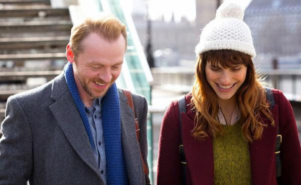 Simon Pegg as Jack and Lake Bell as Nancy in a scene from Man Up.