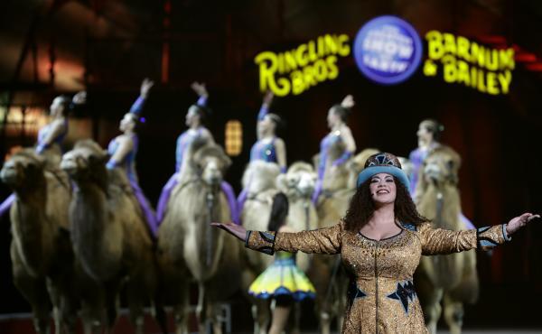 Ringling Bros. and Barnum & Bailey Ringmaster Kristen Michelle Wilson performs Saturday, in Orlando, Fla.