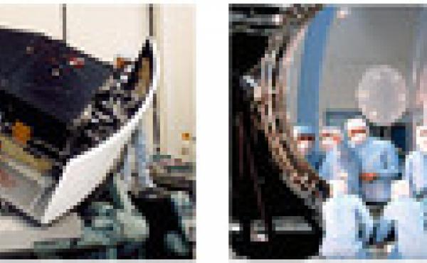 (Left) This is one of two cameras that the telescope originally carried, and it has since been replaced with a more up-to-date version. (Right) Workers study Hubble's 8-foot main mirror. After launch the mirror was found to have a problem, which astronaut