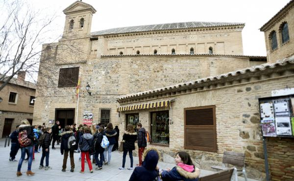 Children gather outside the El Transito synagogue and Sephardic Museum in Toledo, Spain. Founded in 1357, the synagogue was converted into a church following the expulsion of Jews from Spain in 1492. Spain is now preparing to pass a law that would allow d