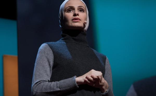 Suzanne Barakat speaking at TEDWomen 2016.