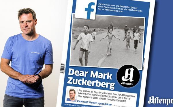 Espen Egil Hansen, the editor-in-chief of Norway's Aftenposten newspaper, addressed Facebook CEO Mark Zuckerberg in a front-page open letter on Friday