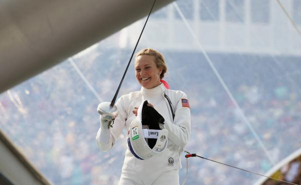 """American Margaux Isaksen smiles during the women's fencing in the Modern Pentathlon on Aug. 19 at the Rio Olympics. She finished fourth in London in 2012 and 20th in Rio. """"It makes you feel sort of worthless,"""" Isaksen says of her performance. She calls th"""