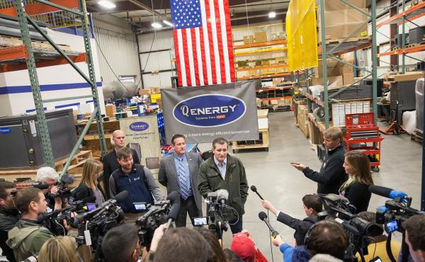 Part of a larger Wisconsin tour, Sen. Ted Cruz speaks to the press before during a campaign stop at Dane Manufacturing on March 24, 2016 in Dane, Wisconsin.