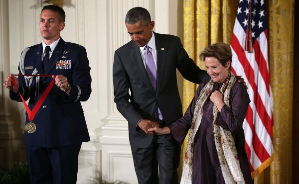 President Obama presents the 2014 National Humanities Medal to Alice Waters during an East Room ceremony at the White House on Thursday. Alice Waters was honored for celebrating the bond between the ethical and the edible as a chef, author and advocate.