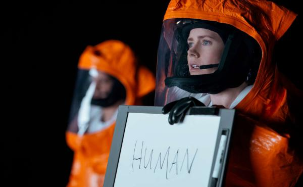 "Amy Adams stars as linguistics professor Louise Banks in the new movie Arrival, adapted from a Ted Chiang short story. The science fiction author spent five years studying linguistics before writing ""Story of Your Life."""