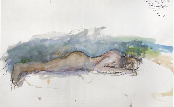 Man (Dreaming), by June Leaf, 1972. Acrylic, and brush and ink on paper, 24 3/4 × 39 3/4 in. Collection of the artist.
