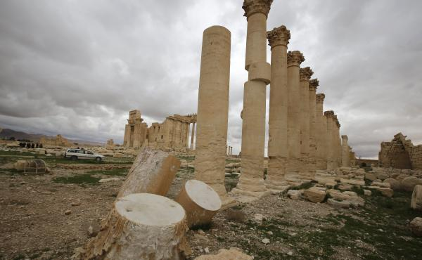 The Temple of Bel in Palmyra had already sustained some damage from artillery shells in March 2014, when these columns in the temple courtyard were photographed. The ancient temple stood at a cultural crossroads, showing influences from Greco-Roman and Pe
