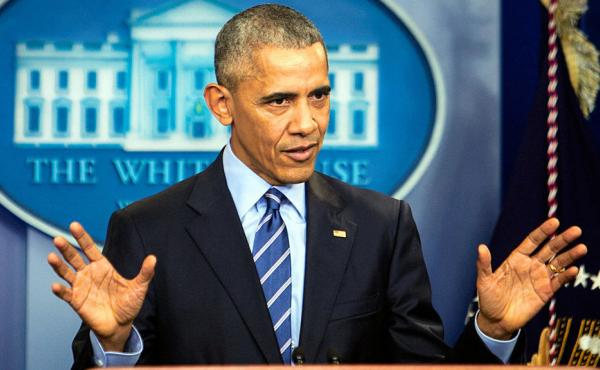 President Obama takes questions during a news conference at the White House last month.