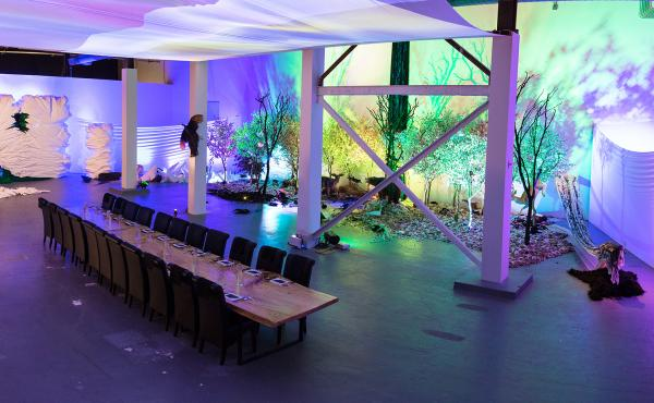 The dining room for Wolvesmouth: Taxa, a pop-up dining experience as art installation at the Museum of Contemporary Art's Geffen Contemporary location.