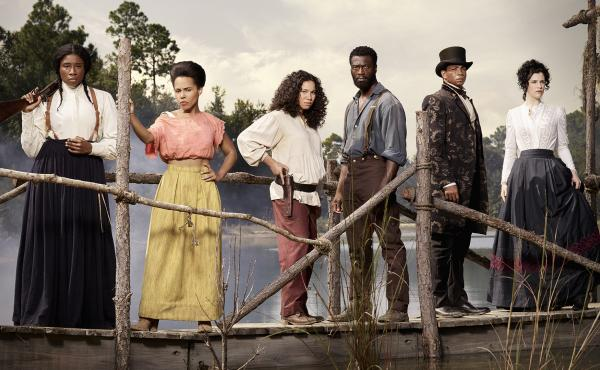 Aisha Hinds, at left, will play Harriet Tubman in the second season of WGN America's Underground, alongside (left to right) Amirah Vann, Jurnee Smollett-Bell, Aldis Hodge, Alano Miller and Jessica de Gouw.