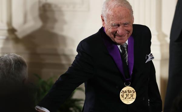 Mel Brooks receives the National Medal of Arts during an East Room ceremony at the White House on Thursday.