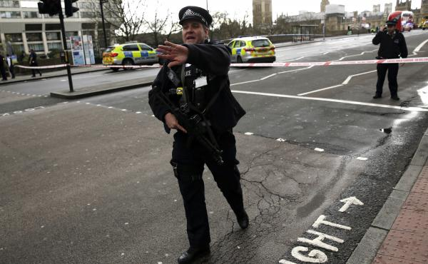 Police secure the area close to the Houses of Parliament in London on Wednesday.
