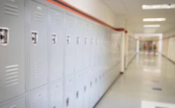 A high school hallway.