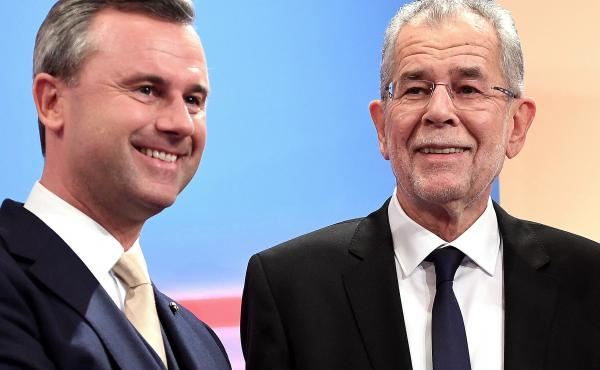 Austrian far-right candidate Norbert Hofer (L) and his rival Alexander Van der Bellen attend a post-selection TV talk with in Vienna on Dec. 4, 2016. Austrian far-right candidate Norbert Hofer on Sunday congratulated his opponent in presidential elections