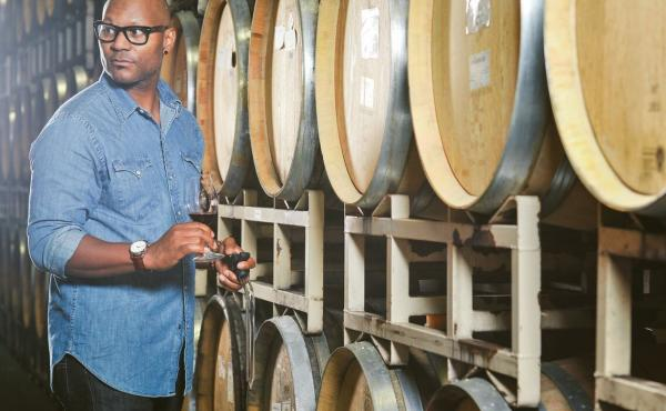 Andre Mack loves to incorporate humor into his work, but inside these casks is serious wine.
