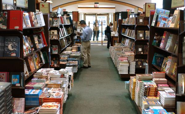 Customers shop at Barnes and Noble in Rockefeller Center May 1, 2003 in New York City in an era before eBooks rose in popularity.