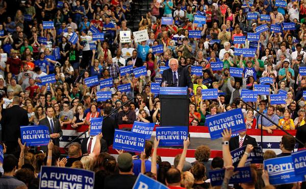Democratic presidential candidate Bernie Sanders addresses the crowd during a campaign rally at the Big Sandy Superstore Arena in Huntington, W.Va., last month.