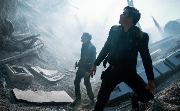 Anton Yelchin and Chris Pine in Star Trek: Beyond.