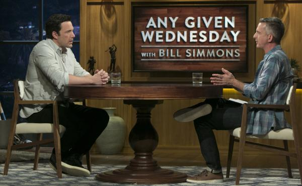 Ben Affleck and Bill Simmons on the premiere of HBO's Any Given Wednesday.