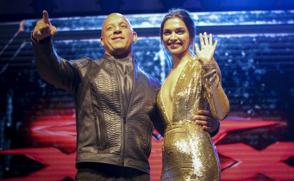 Deepika Padukone and Vin Diesel at a fan screening of xXx: The Return Of Xander Cage in Mumbai, India.