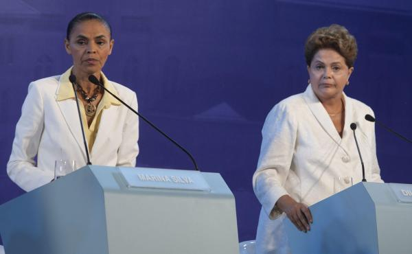 Challenger Marina Silva (left) and incumbent Dilma Rousseff face off during a presidential debate in Aparecida, Brazil, in September.