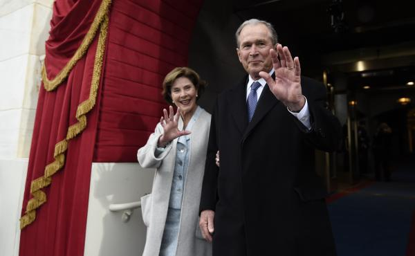 Former President George W. Bush and first lady Laura Bush arrive for Donald Trump's inauguration Jan. 20 at the U.S. Capitol. Monday on Today, Bush commented regarding developments in the nascent Trump presidency.