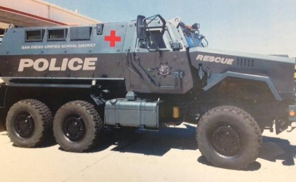 The San Diego School District is sending back a military vehicle it had planned to use in rescue operations. The district had released renderings of what the MRAP might look like after its tan military color is repainted. This version shows it as a police