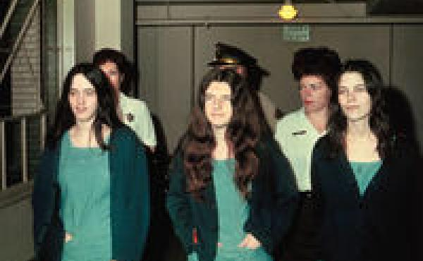 """Manson """"family members"""" Susan Atkins, Patricia Krenwinkle, and Leslie van Houton (from left to right)."""