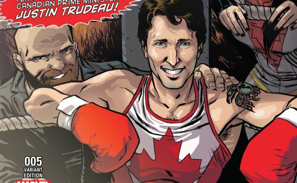 The cover of Marvel's Civil War II features Canadian Prime Minister Justin Trudeau in a boxing ring.