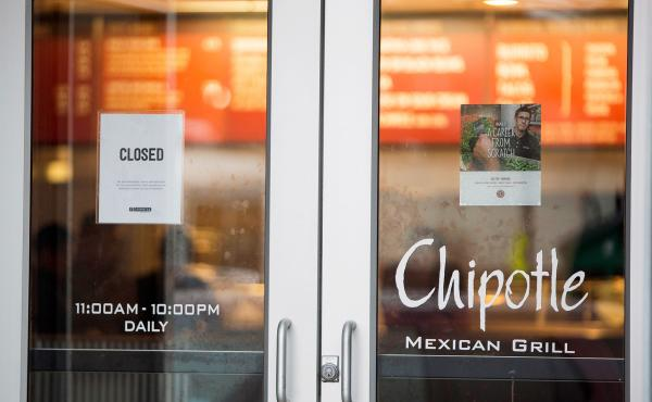 A Chipotle Mexican Grill was closed in Boston on Tuesday. According to a Boston College spokesman, 120 students have gotten sick after eating at the fast-food chain.