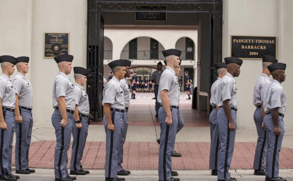 Citadel freshman cadets drill for the first time in their new uniforms in 2013 in Charleston, S.C. The school says it will not allow a prospective student to wear hijab because it would break uniform.