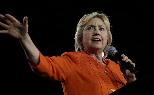 Democratic presidential nominee Hillary Clinton speaks at a campaign rally in Kissimmee, Fla., on Monday.