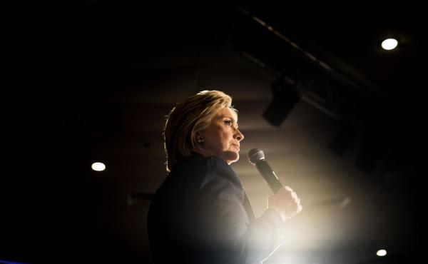 Hillary Clinton speaks to voters during a rally in El Centro, Calif., Thursday. She is on the precipice of becoming the Democratic nominee for president.