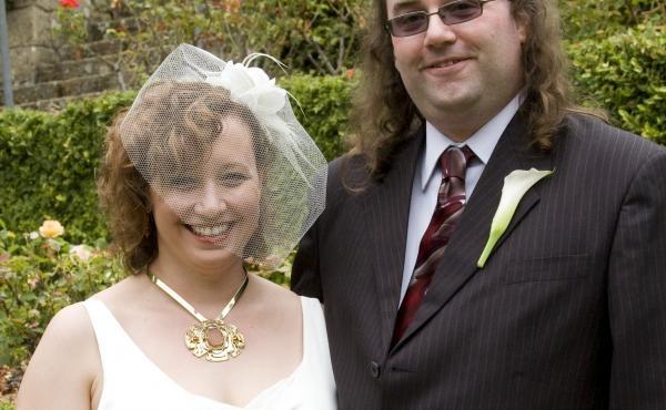 Hope Barrone-Falk and J.D. Falk on their wedding day in 2009.