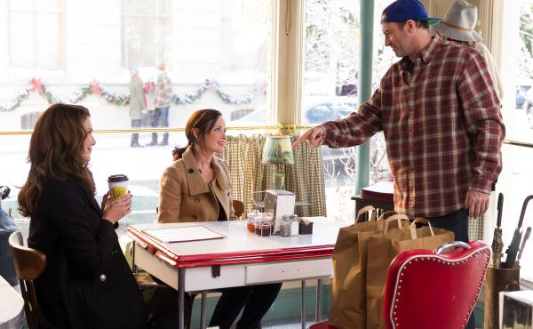 Lorelei and Rory Gilmore get a cup of joe at Luke's Diner in a scene from the show Gilmore Girls. Luke's — and coffee — were a very big part of the show.