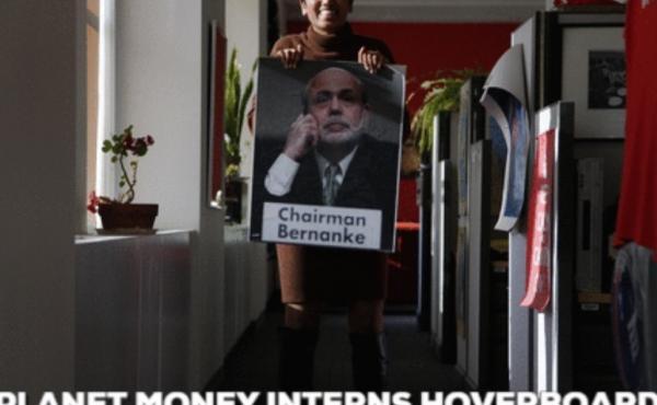 Former Planet Money intern, Sindhu Gnanasambandan, hoverboarding around the office.