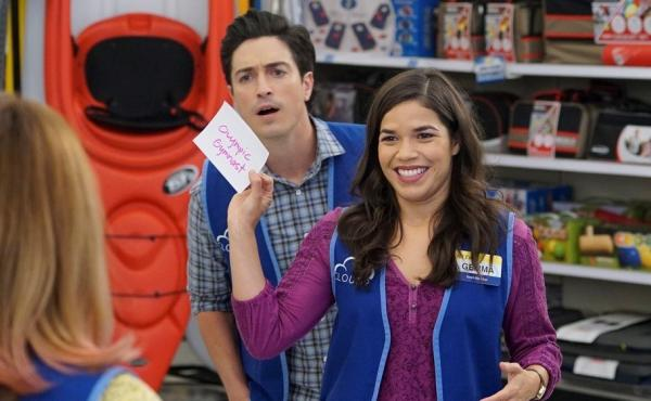 Vested Interests: Gemma (America Ferrera) and Jonah (Ben Feldman) in the NBC sitcom, Superstore.