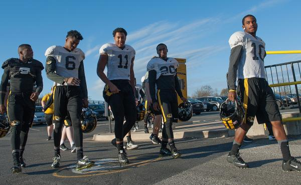 Members of the University of Missouri Tigers football team return to practice Nov. 10 at Memorial Stadium in Columbia, Mo.