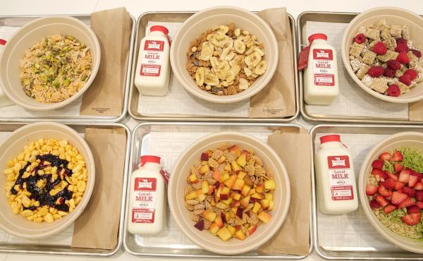 Various cereal options available at Kellogg's NYC cereal bar. The restaurant encourages experimentation, part of the company's strategy to challenge the conception of cereal as being only a breakfast food.